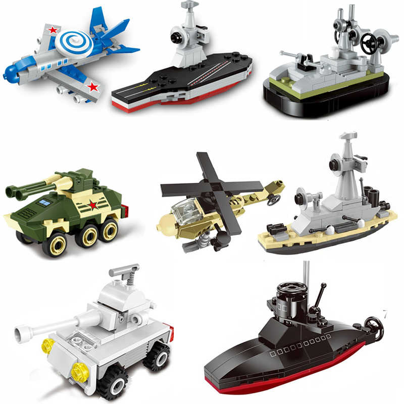 Mini military compatible submarine tank aircrafted carrier ship set building blocks children toy Helicopter bricks ww2