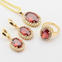 WPAITKYS Oval Red Created Garnet White CZ Gold Color Jewelry Sets For Women Drop Earrings Necklace