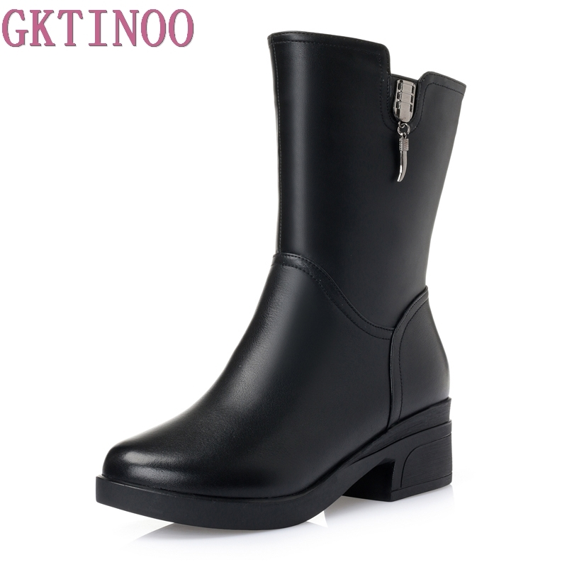 Women Winter Snow Boots Mid-Calf Solid Thick Heels Genuine Leather Boots Women Warm Plush Boots Ladies Boots Plus Size 34-43 asumer large size 34 43 mid calf boots round toe med heels platform women boots high quality pu leather thick winter snow boots
