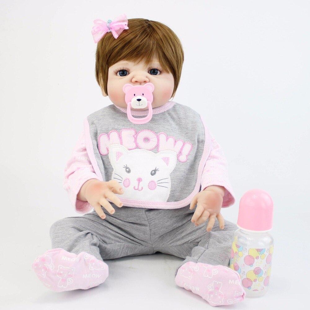 55cm Full Silicone Vinyl Body Reborn Baby Doll Toy For Girl Newborn Alive Bebe Boneca Bathe Play House Toy Birthday Gift Kid цена