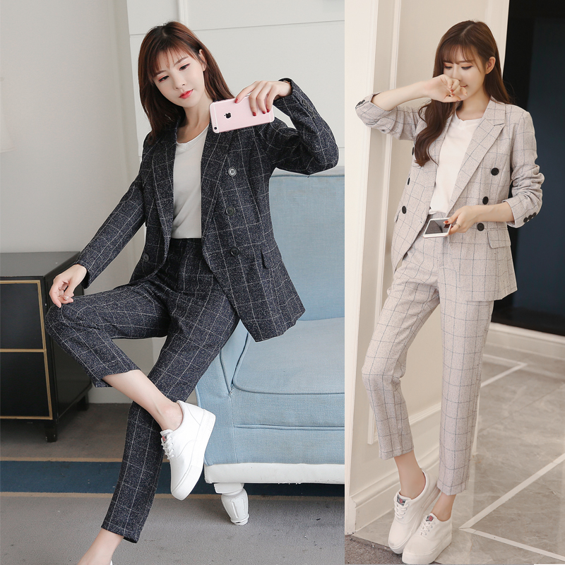 2019 Business Women's Pencil Pants Set 2 Piece Set Navy Plaid Blazer + Pants Office Ladies Corner Jacket Women's Suit