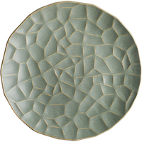 Diamond Lotus Leaf Ceramics Dinner Plate,Matte Green Irregular Lace Kiln Glazed Enamel Dinnerware Tableware to put in the oven