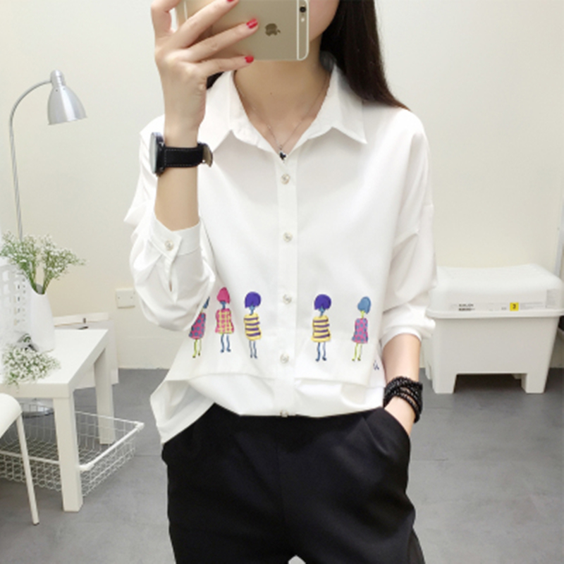 2017 Spring Autumn women print character turn-down collar shirt long sleeve loose casual solid white blue female shirts blouse