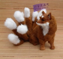 creative simulation nine-tailed fox toy resin&fur big brown fox doll gift about 28x26cm