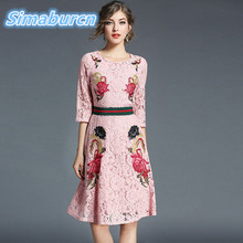 Embroidery Flowers Sexy Hollow Out Dress Women Autumn Evening Femme Dress Party Elegant Vintage Half Sleeve Winter Lace Dresses цена и фото