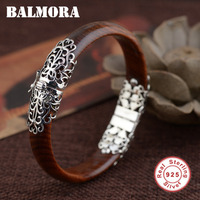 BALMORA 100% Real 925 Sterling Silver Jewelry about 18cm Red Round Charm Bangles for Women High Quality Free Shipping TRS50065