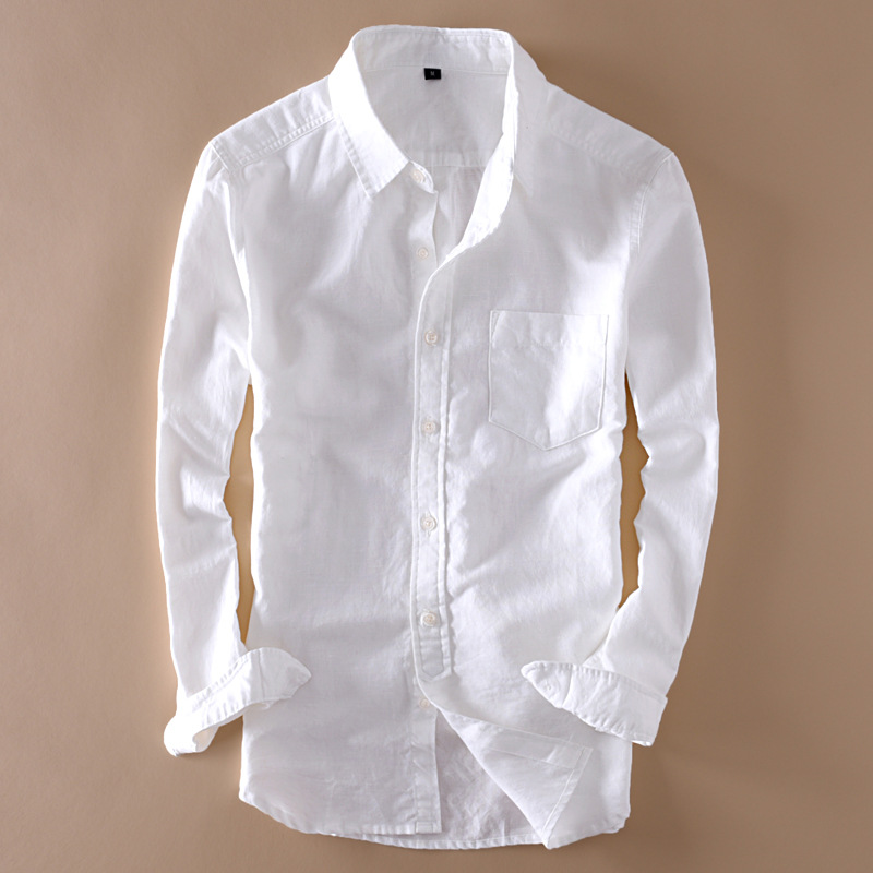 Elegant Mens Long Sleeve White Linen Shirt Slim Fit Turn-down Collar Soft Loose Thin Clothes Classic Hemp Shirts Beach Clothing(China)