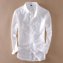 e6a044c0147 Элегантная мужская белая льняная рубашка с длинным рукавом Slim Fit  Turn-Down collar мягкая свободная тонкая одежда Классическая..