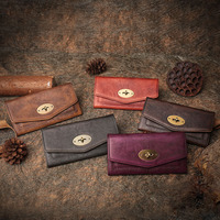 Handmade Genuine Leather Women Clutch Bag ID Credit Card Cash Holder Purse Vintage Cowhide Money Long Wallets for Ladies