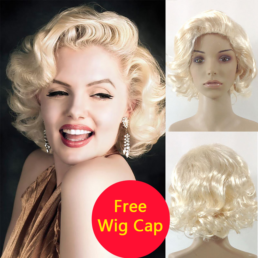 Women's Marilyn Monroe Bombshell Adult Blonde Short Curly Hair Sexy Sweetheart Cosplay Costume Scarlet Synthetic Party Accessory