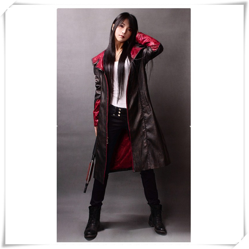 Devil May Cry 5 DMC5 Dante Jacket Games Devil May Cry PU Leather Hooded Coat Dante Cosplay Costumes Unisex Coat Halloween