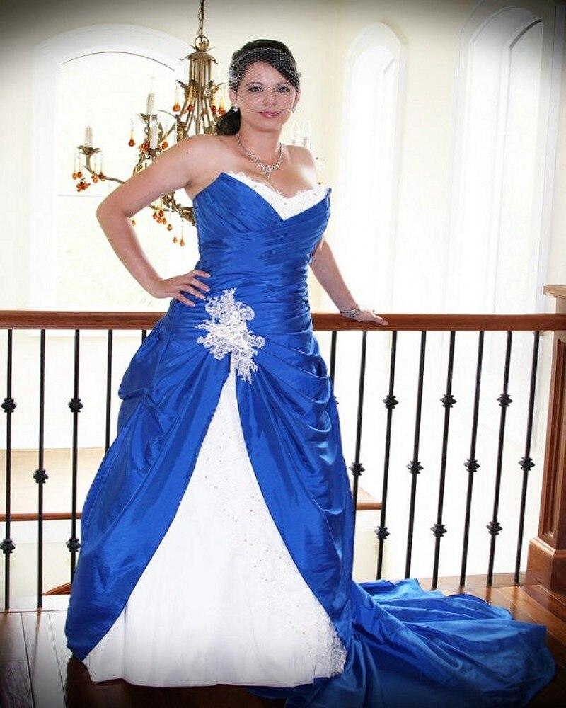 Popular royal blue and white plus size wedding dresses buy for Plus size white wedding dresses