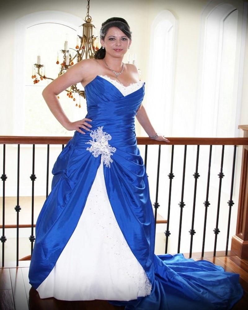 Plus Size Royal Blue Ball Gown Wedding Dresses White Appliques ...