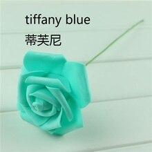 Cheap Tiffany Blue Color 100pcs Lot Artificial Foam Flower With Stem 6cm Home Party Wedding