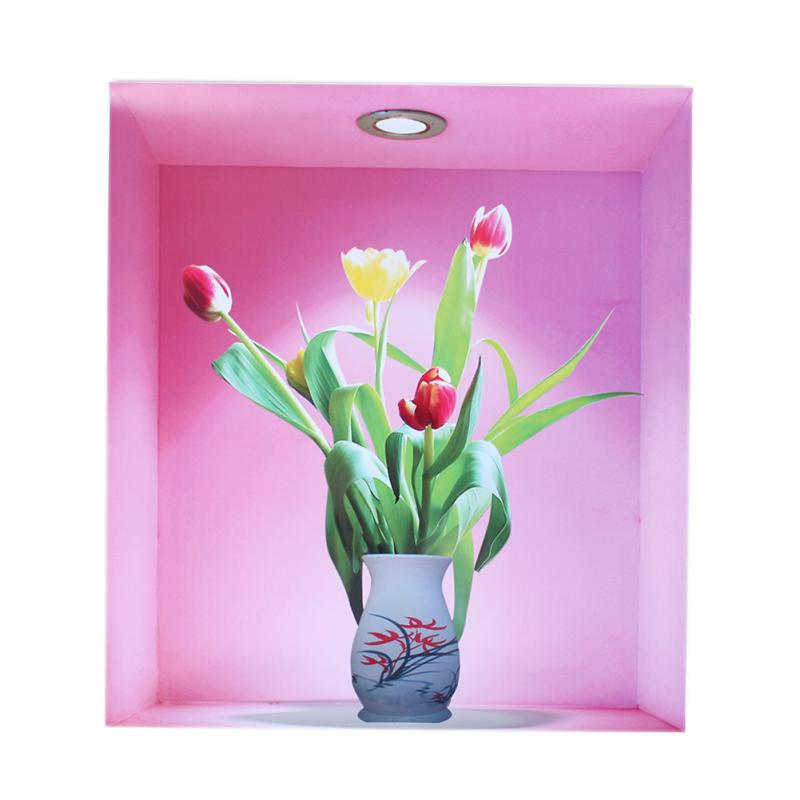 3pcs Removable 3d Flower Vase Wall Sticker Home Decal Living Room
