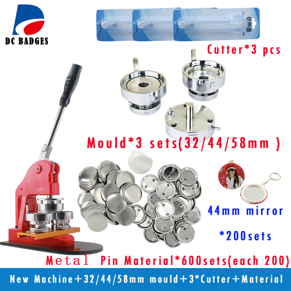 Free Shipping DIY Button Machine with 32/44/58mm round mould ,each size 200pcs material and 44mm mirror keychain,3 pcs cutter in 2017 new mould 58 mm circular mould exchange badges badges 58 mm machine mold factory outlet