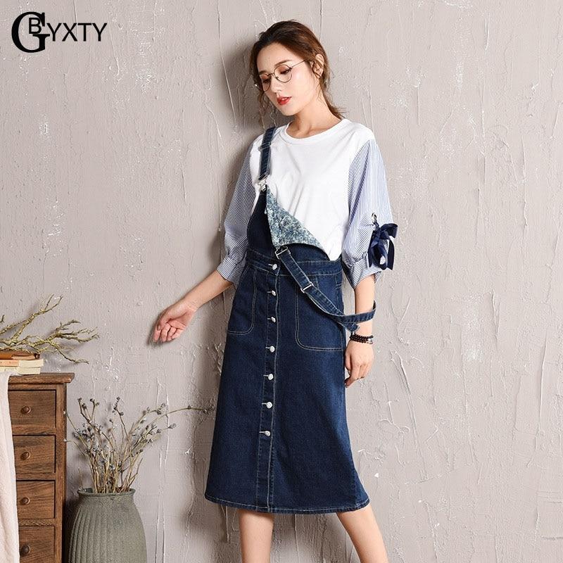 9d4b29c2dc GBYXTY Plus Size 5XL Pinafore Dress Womens Casual Deim Dress Sundress 2019  Spring Summer Strap Single Breasted Jean Dress ZA1394