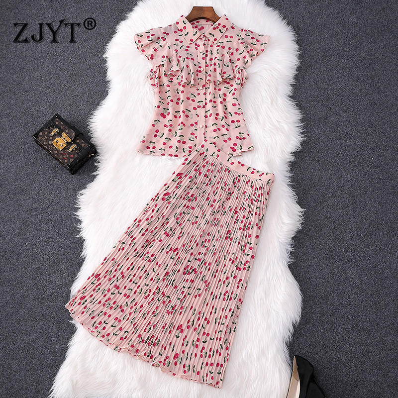 Summer Designer 2 Piece Set Women 2019 New Fashion Ruffles Cherry Print Chiffon Blouse and Midi