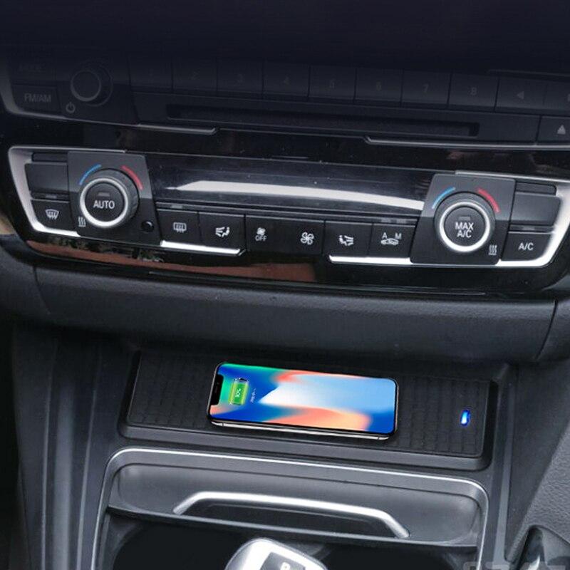 Voiture QI chargeur sans fil boîtier de charge unité de charge support pour téléphone pour BMW 3 4 série F30 F31 F32 3GT F34 F36 pour iPhone 8 X XS