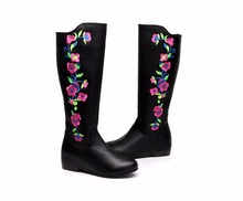 2017 winter new cashmere imported high-grade boots women's boots embroidered cotton boots