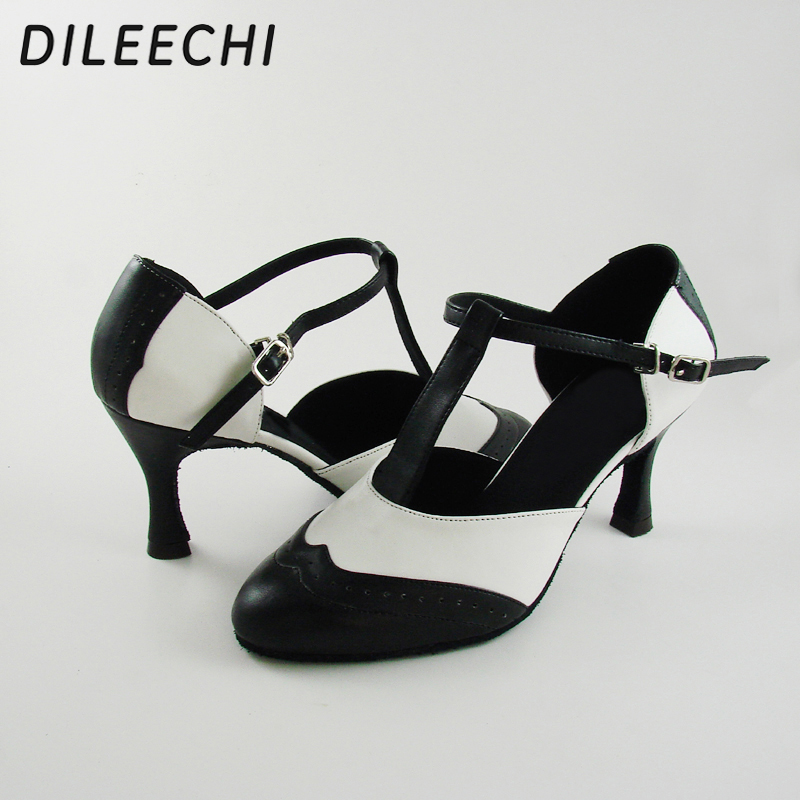 Image 2 - DILEECHI Brand White Real leather T Strap Latin modern dance shoes Women's High heels 7.5cm Autumn and Winter Black party shoes-in Dance shoes from Sports & Entertainment