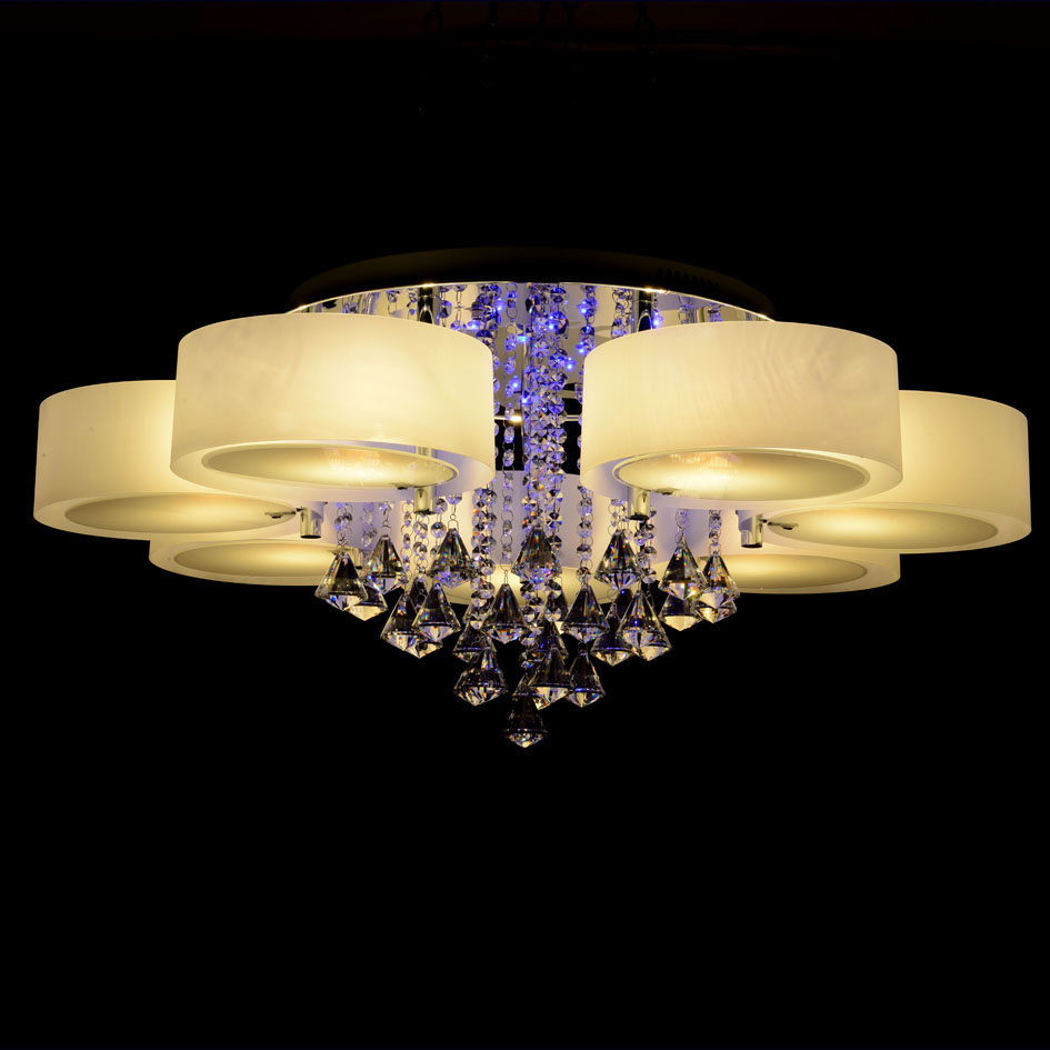 Ecolight rgb modern chandelier crystal with remote control 7 lights led chandeliers light for - Can light chandelier ...