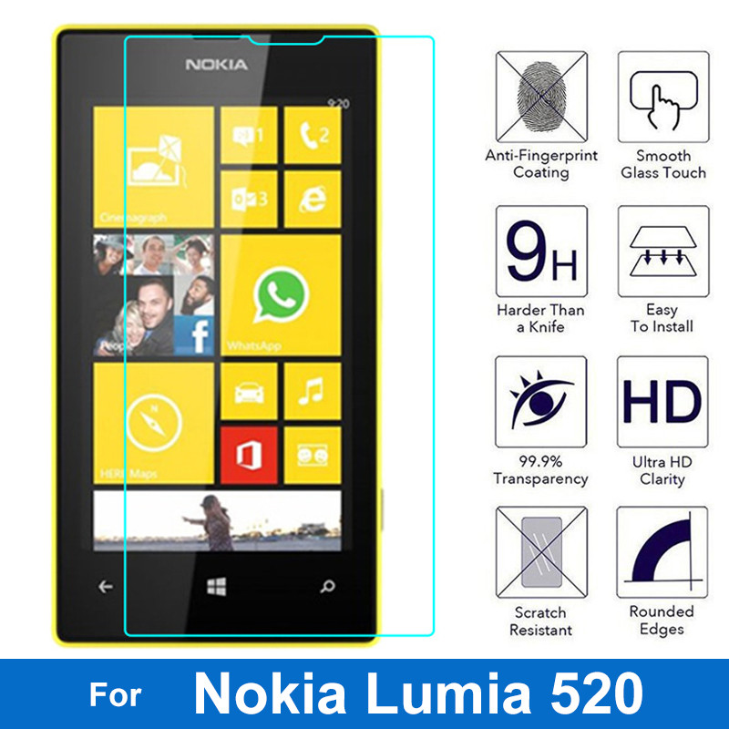 0.26mm Explosion-proof Front LCD Tempered Glass Film For Microsoft Nokia Lumia 520 Nokia520 Screen Protector pelicula de vidro