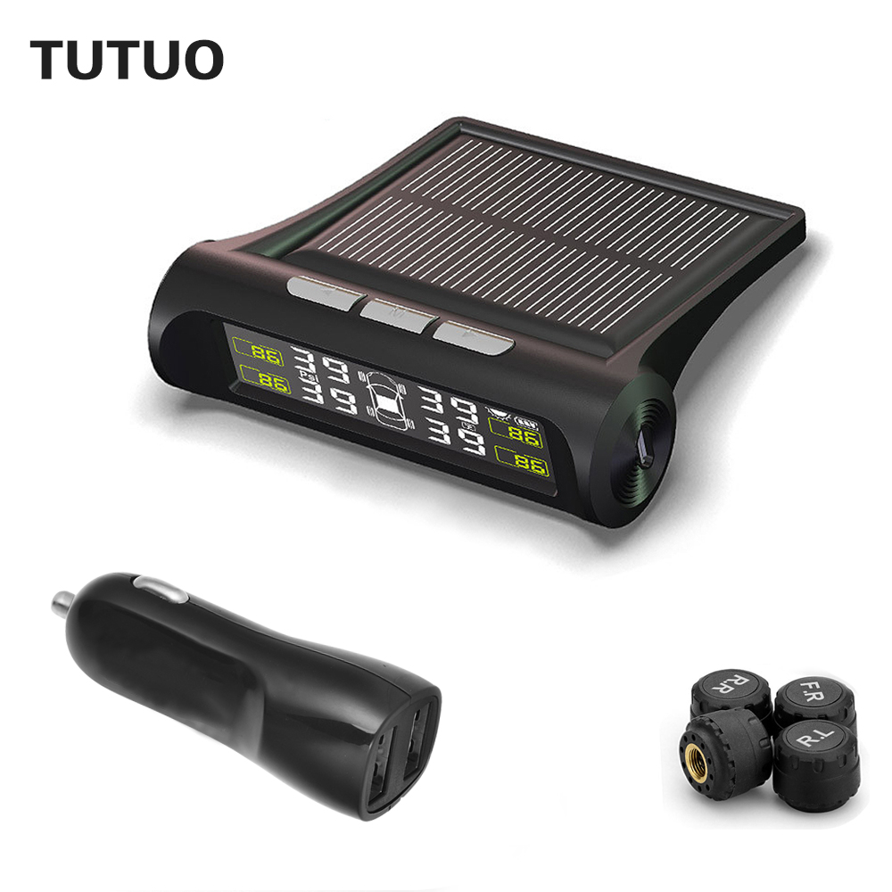 font b TPMS b font TUTUO Solar Power Car Tire Pressure Monitoring System With Car