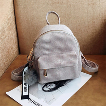 Female Travel Bags Women Mini Corduroy Backpack Teenagers Cute with Fuzzy Ball Children Small Shoulder