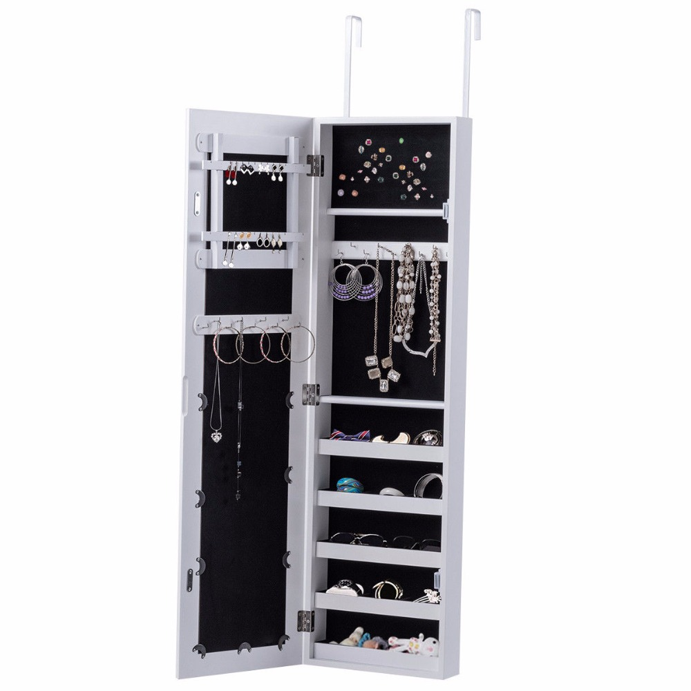 Dimension Armoire Us 76 91 Aliexpress Buy Goplus Mirrored Jewelry Armoire Cabinet Door Mounted Necklace Organizer Modern White Make Up Mirrors Jewelry Storage