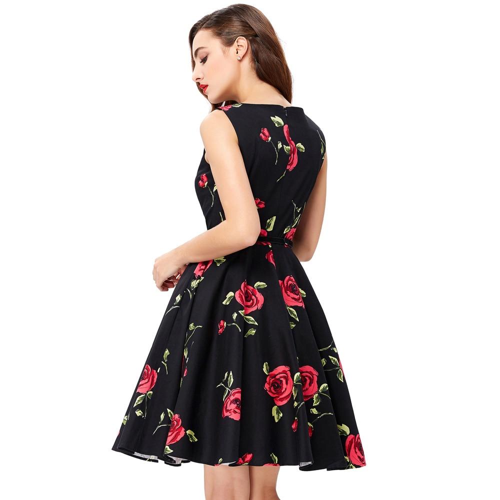 2018 robes d'été femmes pin-up floral rétro robe Dot Rockabilly - Vêtements pour femmes - Photo 3
