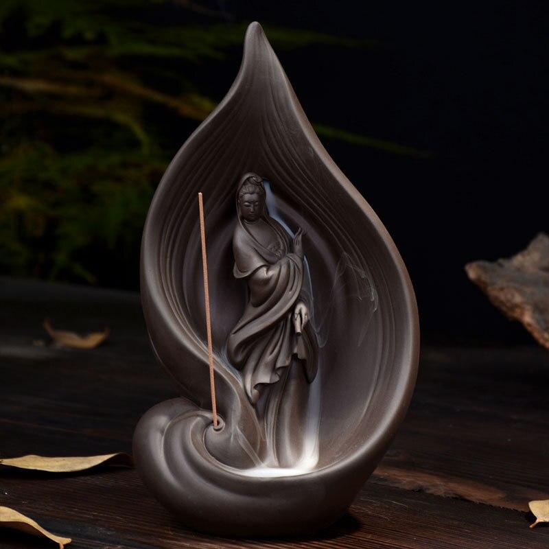Creativo Avalokitesvara Bruciatore di Riflusso Torre Bruciatore di Incenso Coni Titolare Bastone di Incenso di Ceramica Incensiere Casa Decorazione Sala Da Tè