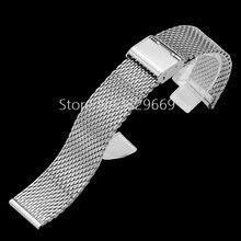 Nueva Lug ancho 18 mm 20 mm 22 mm 24 mm plata de malla sólida pesada de acero inoxidable correa de reloj reloj de guijarros elegante traba de cierre