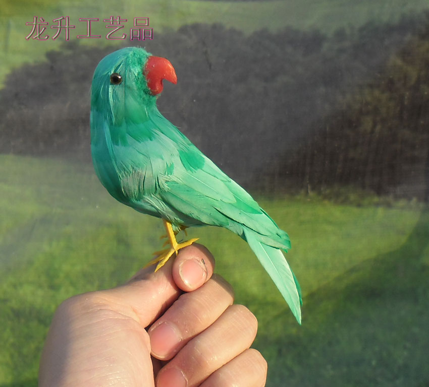 new cute simulation green Bird toy plastic & furs parrot gift about 14cm 1491 big cute simulation rabbit toy plastic