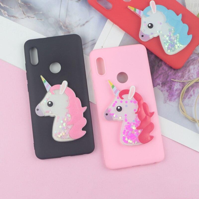 Bling Cute Horse Case For Xiaomi Redmi 3S 4A 4X 5A 5 Plus 6 Pro 6A Dynamic Glitter Liquid Horse Soft TPU Cover