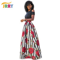 JRRY New Two Pieces Sexy Women Maxi Dresses Short Sleeve Black Top Long Pattern Floral Dress