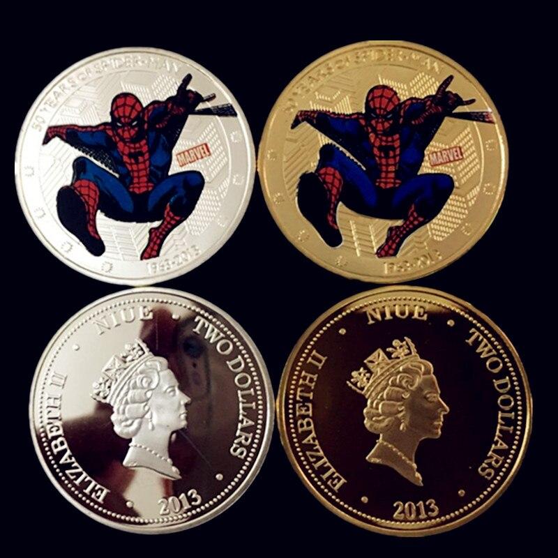 4 pcs The 50th years of <font><b>spiderman</b></font> Hollywood <font><b>movie</b></font> hero Elizabeth <font><b>II</b></font> 24k gold silver plated spide rman souvenir coin