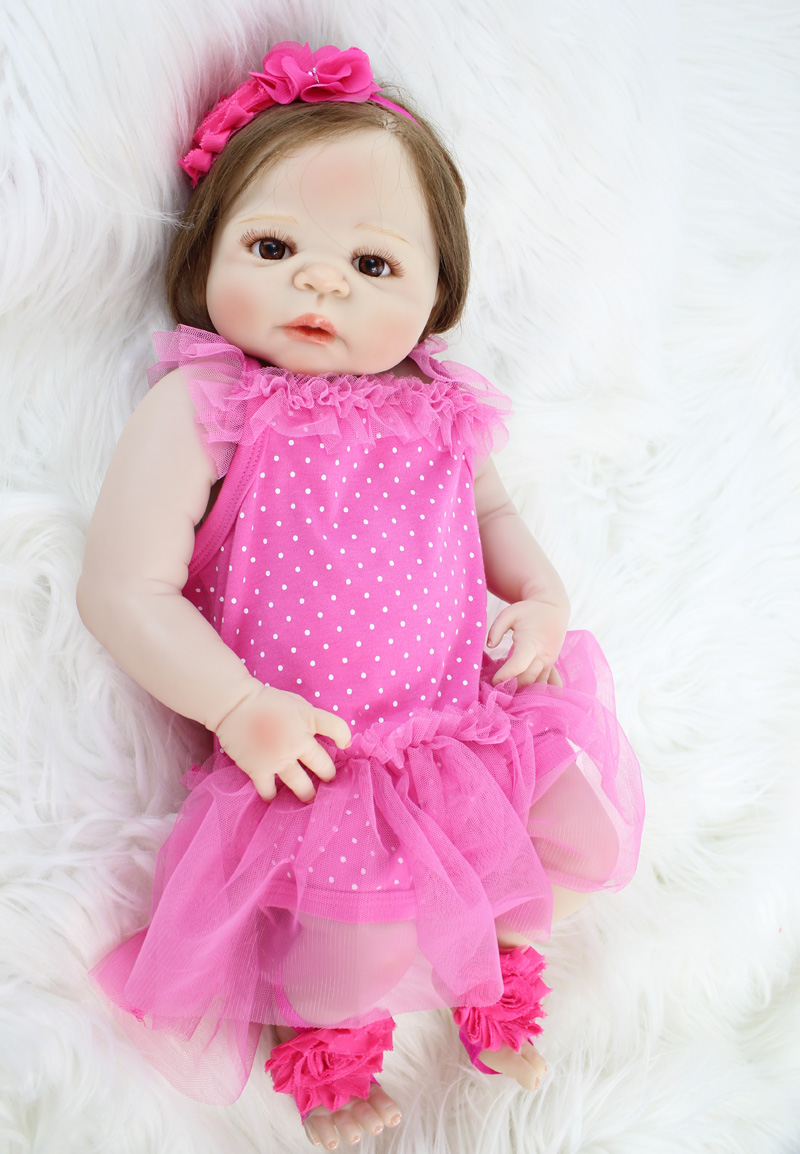 "Lovely 22"" Full Silicone Reborn Baby Princess Girl Lifelike 55cm Vinyl Bebe Newborn Toddler Dolls Waterproof Body Rooted Hair"