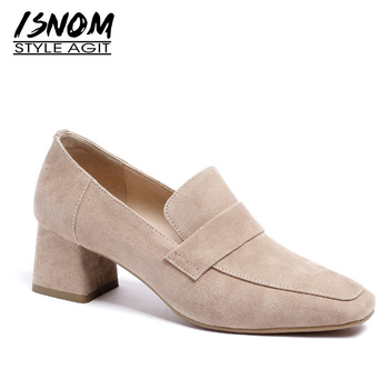 ISNOM Kid Suede Pumps Women Square Toe Footwear Thick High Heels Shoes Female Fashion Slip On Shoes Woman Spring 2019 New