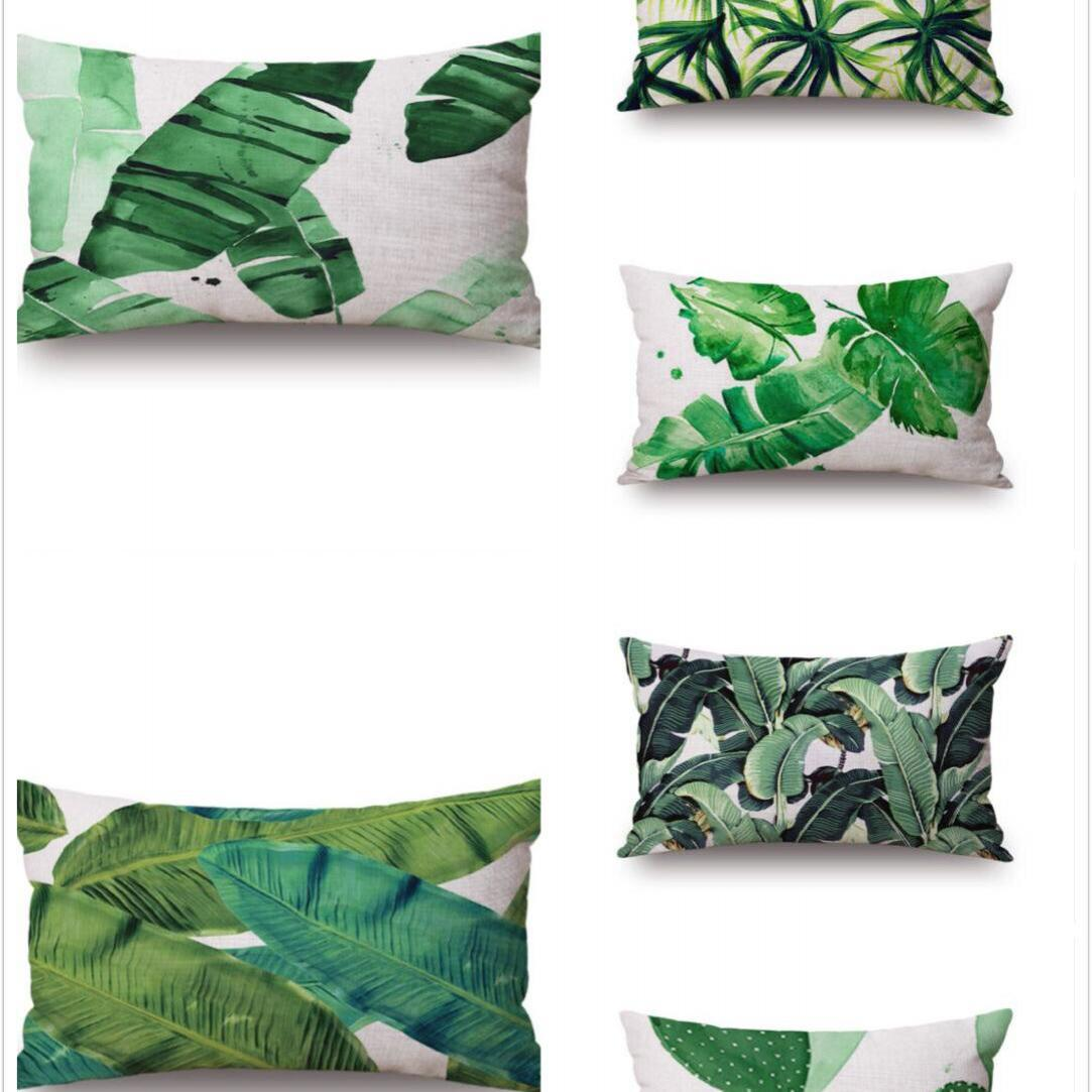 No Inner Filling Custom Banana Leaf Tropical Pillow Leaves Decoration Almofada Travesseiro Cushion Flamingo 30*50