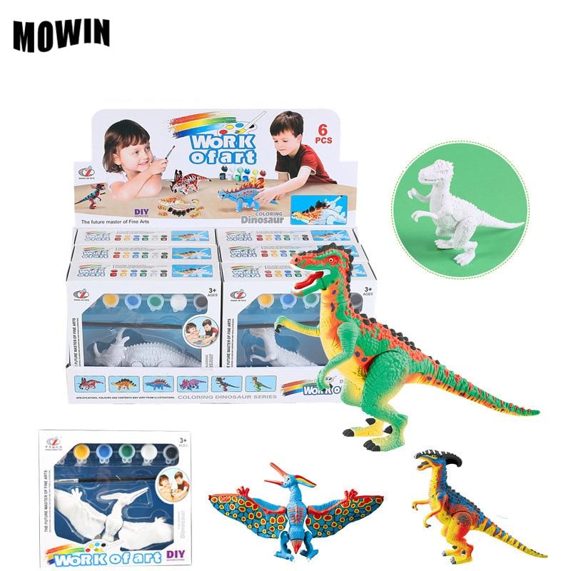 Mowin 6 шт./лот ребенок DIY окраска фигурки динозавров Игрушечные лошадки красочный динозавр Tyrannosaurus модель игрушки для детей красивые подарки на день рождения
