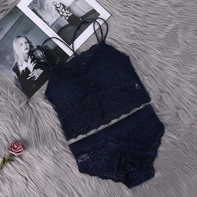Conjunto de sujetador y bragas de encaje transparente, lencería Sexy para mujer, sujetador conjunto íntimos, conjunto de ropa interior para mujer