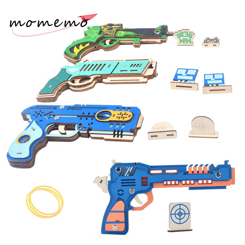 MOMEMO Assemble 3D Wooden Puzzle Toys Rubber Band Gun with Target Adult Wood 3d Jigsaw for Kids