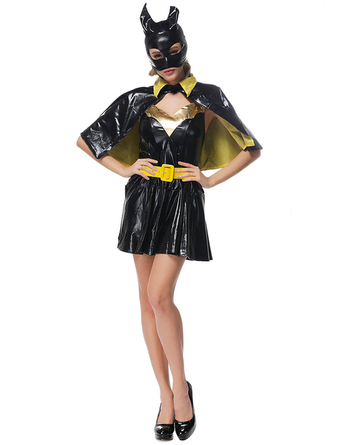 new black batman costume adult batgirl catwoman halloween costumes for women sexy superhero cosplay mask cape