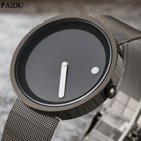 New Unique Gift Cool Minimalist Style Wristwatch Stainless Steel Mesh Creative Design Dot And Line Simple