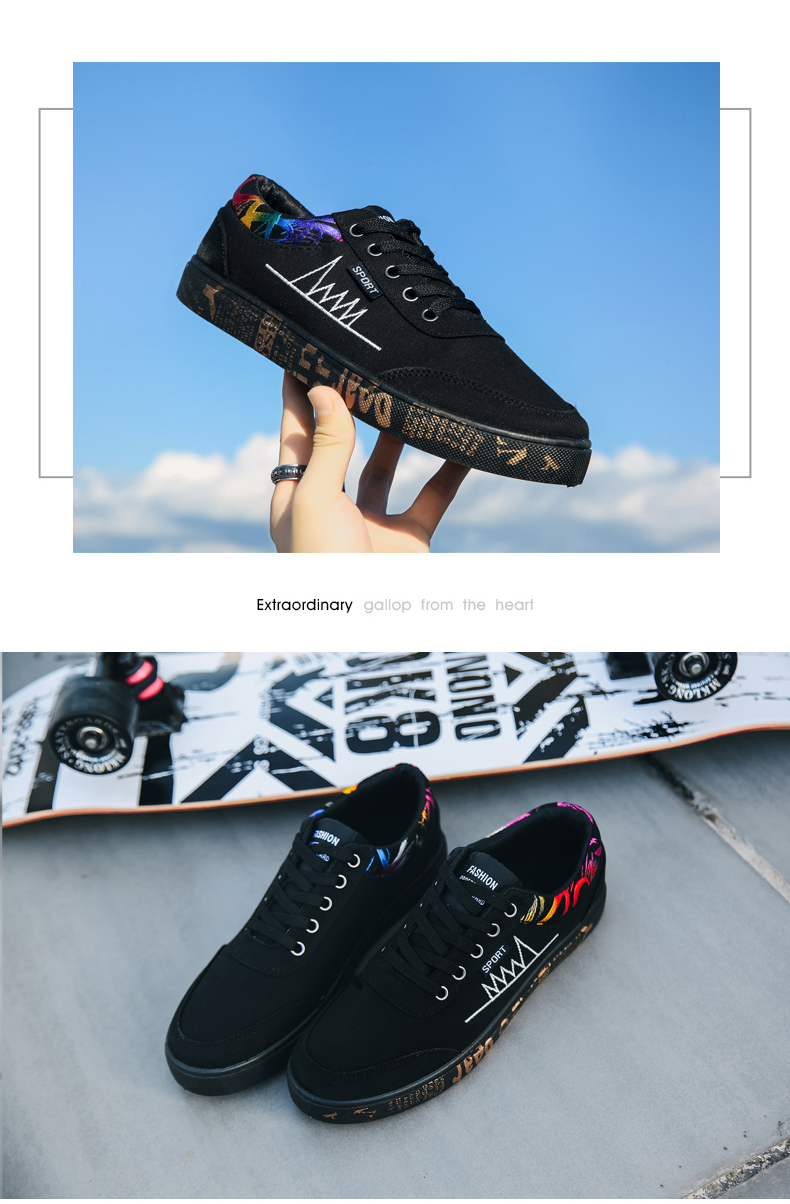Graffiti Solid Shoes Lace-Up Outdoor Walking Lightweight Men Shoes 2019 New Sports Outdoor Sneakers Low-top Skateboarding Shoes