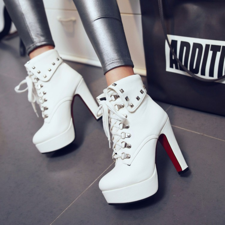 2016 New Chunky High Heels Pumps Knight Boots For Sale Comfortable White Dress Shoes Women Black
