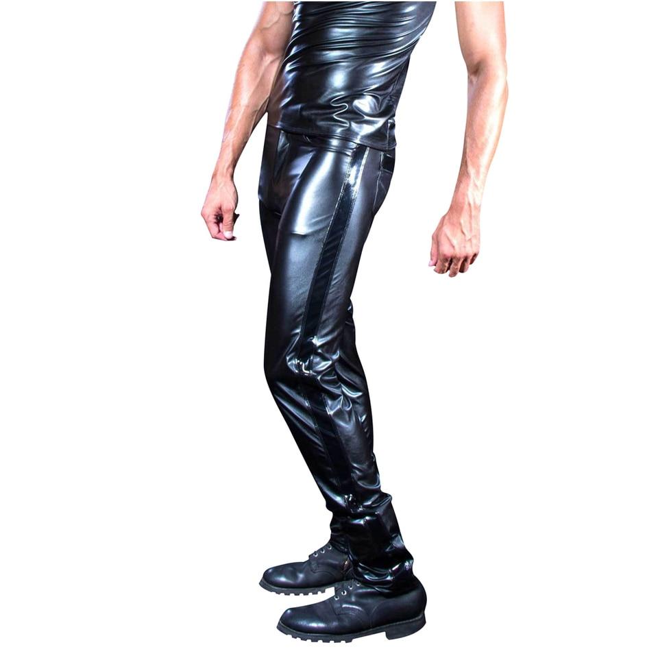 Man Leather Pants Men Slim Pu Leather Trousers High Elastic Man