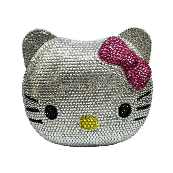 Здесь можно купить   Cat Face Evening Bag animal crystal Clutch bag  diamond party Purse Kitty Party Purse bag Камера и Сумки