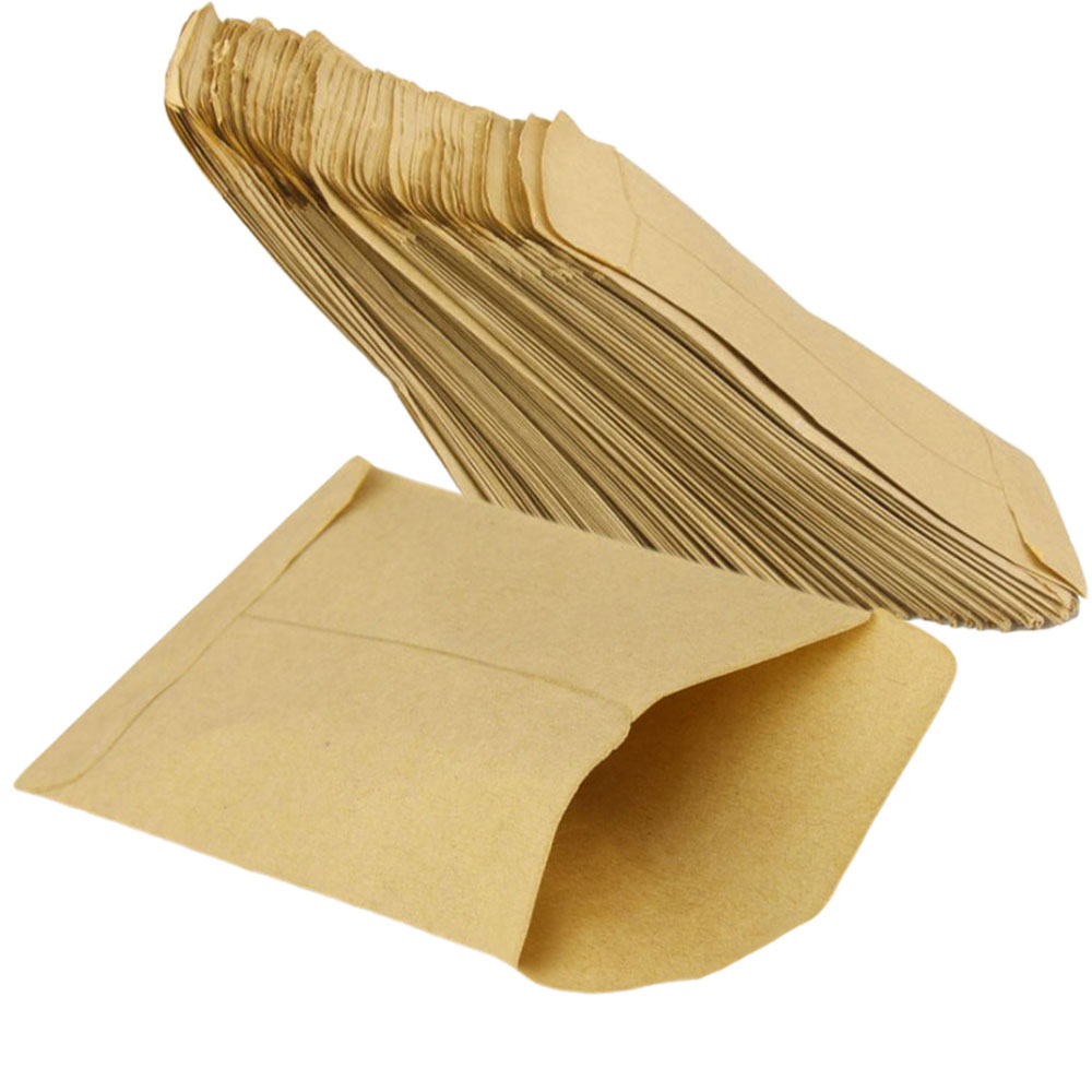 100pcs Calf Paper Gift Candy Bag Glue Snack Kraft Paper Bags Wedding Party Buffet Storage 6 * 10cm